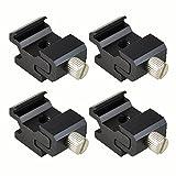 MENGS® 4 Stück 1/4 Schraube Aluminium Adapter halterung für Kalt/Blitzschuh Blitzhalterung Lampenhalter, die 360 Grad einstellbar kann