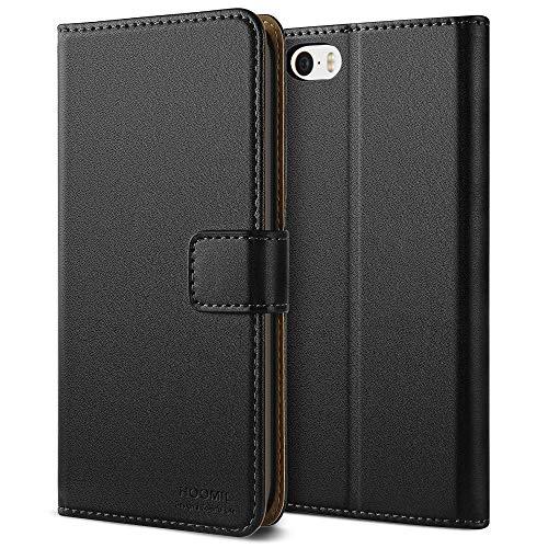 HOOMIL Handyhülle für iPhone 5S Hülle, Premium Leder Flip Case Schutzhülle für Apple iPhone 5S/SE/5 Tasche - Schwarz