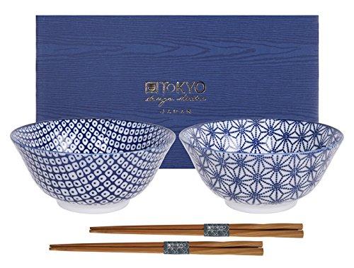 Tokyo Design Studio, Bol en porcelaine + baguette, Diamètre 15.2cm - Coffret de 2, Nippon Blue