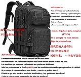 Sergo Mochila Táctica Impermeable 45L Gran Capacidad Nylon 600D Múltiples Bolsillos para Senderismo Acampada, Montañismo, Caza, Aire Libre Ciclismo y más (Negro) (Black)
