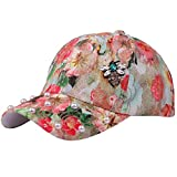 KingProst Floral Bedruckt Baseball Cap Kappe Damen Sommer Glitzer MüTzen Herren Flatcap Mit Strass SonnenhüTe Mit Uv Schutz (Rot)