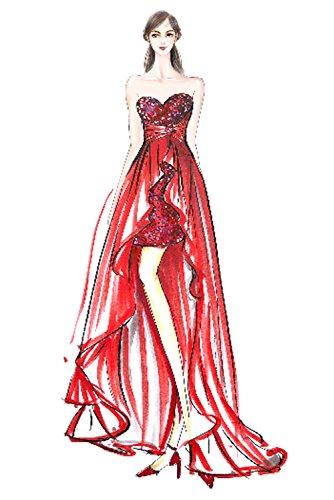 Victory Bridal Beliebt Traegerlos Herzausschnitt Hi-lo Abendkleider Partykleider Promkleider Abschlussballkleider Lang Pink