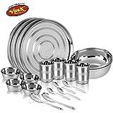 VPSK Stainless Steel Heavy Dinner Set - 20 Pcs (4 Pcs S.S. Full Plate, 4 Pcs S.S. Vati Big, 4 Pcs S.S. Glass, 4 Pcs S.S. Spoon, 2 Pcs S.S. Serving Bowl, 2 Pcs S.S. Serving Spoon)