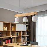 Holz Pendelleuchten Deckenleuchte Minimalismus Restaurant Kronleuchter Höhe verstellbar E27 Warm L [Energieklasse A +++] , white , 70cm