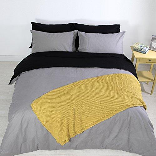 Adam Home Luxus Neu 5pcs Reversibel Komplett Bettdecke Abdeckung Einstellen + 4X Kissenbezüge Bettwäsche Einstellen - Grey/Black - King (12 Stück Tröster)