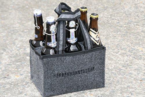 Herrenhandtasche, Bierträger, Flaschenträger Filztasche für 6 Flaschen Bier