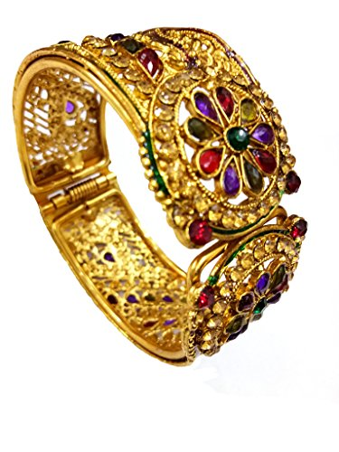 DS Multicolour Ethnic Traditional Party wear Free Size Openable Bracelet Kangan Kada Bangle for women Girls(DS306)  available at amazon for Rs.199