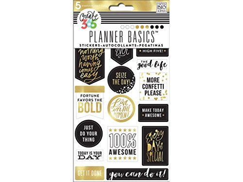 Create 365 Planner Stickers 5 Sheets/Pkg-Gold - Seize The Day (Planer Aufkleber Gold)