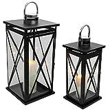 Multistore 2002 2tlg. Laternen-Set H38/47cm, Schwarz/Silber, Laterne Gartenlaterne Kerzenhalter Gartenbeleuchtung Windlicht