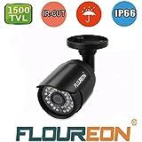 Floureon Caméra de Surveillance Extérieure pour Kit de vidéosurveillance 720p 1.0MP 1500TVL Étanche Vision Nocturne 15M Système de Sécurité Compatible avec DVR AHD pour Maison Bureau Magasin Supermarché