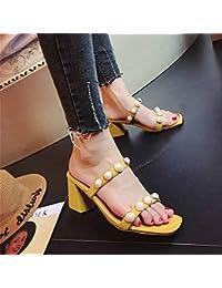 GAOLIM Dans L'Été Avec Des Sandales Femme Rose Et Polyvalent, Avec Les Chaussures À Haut Talon Fixations Oblongs, Dew-Orteil Chaussures Pour Femmes