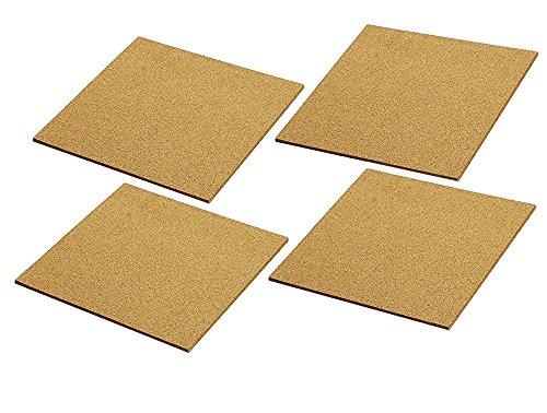 Cork Tile Boards-Rahmenlose Wanduhr-Mini Bulletin Boards-Natur-4Pack-30,5x 30,5cm