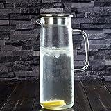 Glas Wasserkocher_cold glass Jug Wasserkocher Wasserkocher Hitzebeständig hohe Temperatur Deckel aus Edelstahl Wasserkocher, 1200 ml Saft.