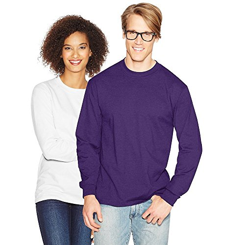 Hanes Adult Beefy-T Long-Sleeve T-Shirt, Ash, 2XL Purple