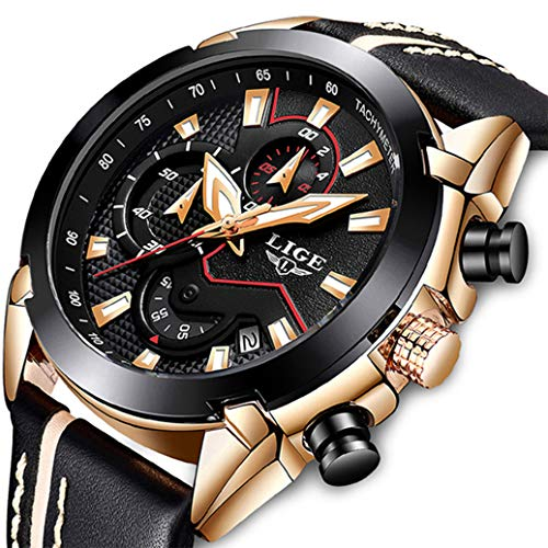 Herrenuhr Schwarz Wasserdicht Chronograph Luxusmarke LIGE Fashion Sports Analog Quarzuhr