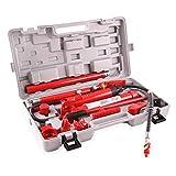 EBERTH 10T Martinetto idraulico per carrozzeria compresa la Valigia (Piede con scasso a V, 7 Pistoni, 3 Estensioni)