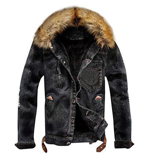 B-COMMERCE Herren Herbst und Winter Plus Samt Denim Jacke schwarz Jeansjacke Herren Winter Denim Jacket Gefütterte Jeans Jacke mit Fell Mantel Warme Winterjacke