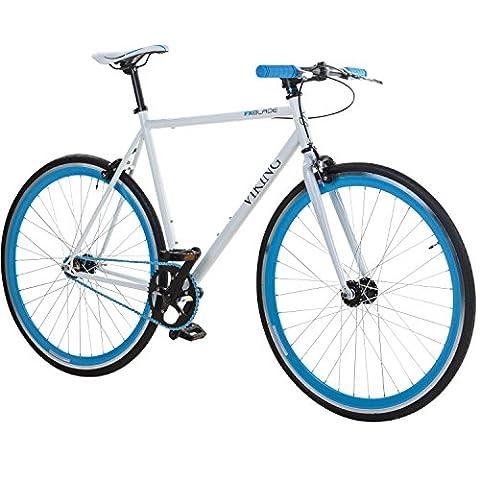 28' Fixie Singlespeed Bike Viking Blade 5 Farben zur Auswahl, Farbe: Weiß / Blau; Rahmengrösse: 56