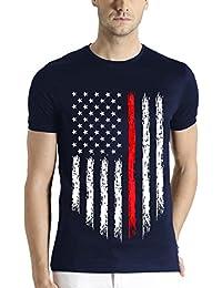 Adro Men's USA Flag Printed cotton T-shirt
