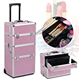 Popamazing Extra Large 3 in 1 Hairdressing Makeup Vanity Case Beauty Cosmetics Case Box Trolley Case (Pink)