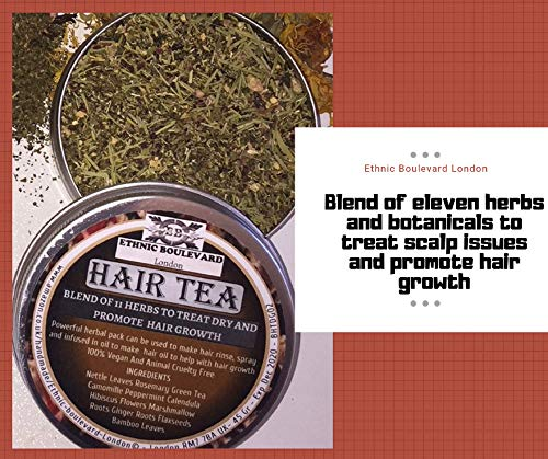 HAIR TEA RINSE - 11 HERBS TO TREAT DRY HAIR ISSUES AND PROMOTE HAIR GROWTH - Hair Tea - Natural conditioner for dry scalp and hair 100% Vegan No Chemicals
