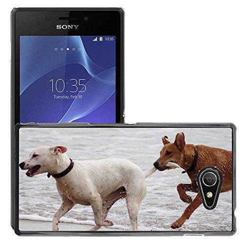Just Phone Cases Bild Hart Handy Schwarz Schutz Case Cover Schale Etui // M00421764 Hunde Stöckchen zu spielen Beißen Romp // Sony Xperia M2 D2303 D2305 D2306
