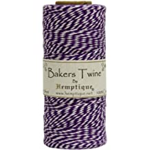 Hemptique Bakers Twine - Bobina de hilo de algodón de fuerza media (125 m, 50 g, grosor aprox. de 1 mm), color morado y blanco