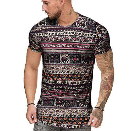 BURFLY Herren Sommer Rundhals Ethnic Print Kurzarm T-Shirt Top Shirt T-Shirt Herren Outdoor Freizeit Sport