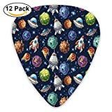 Futuristic Science Fiction Comic Planet Spaceships Androids Rockets Ufo Illustration Guitar Picks 12/Pack