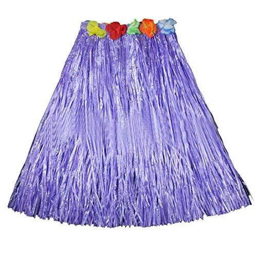 Shujin Damen Strand Tropical Hawaii Rock mit Blume Gummibund Karneval Fasching Party Hula Grass Dance Skirt
