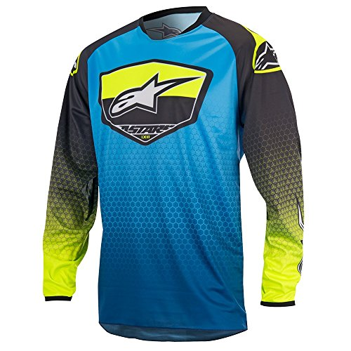 Alpinestars Jersey Racer Supermatic Blu Scuro/ciano/giallo fluo Blue/Black/Yellow