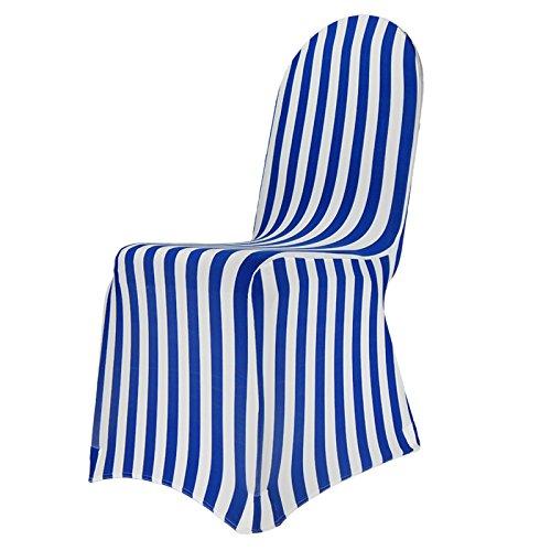 Stuhlhussen Stretch BLAU-WEISS gestreift für runde und eckige Lehne Stuhlbezug Spandex (Stuhlhussen Klassische)