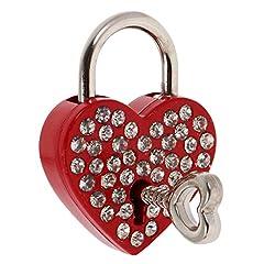 Idea Regalo - MagiDeal Diamante Di Cuore Lucchetto Sicurezza Con Chiave Di Viaggi Sicuro Pendente Gioielli Regale Rosa 2,4cm