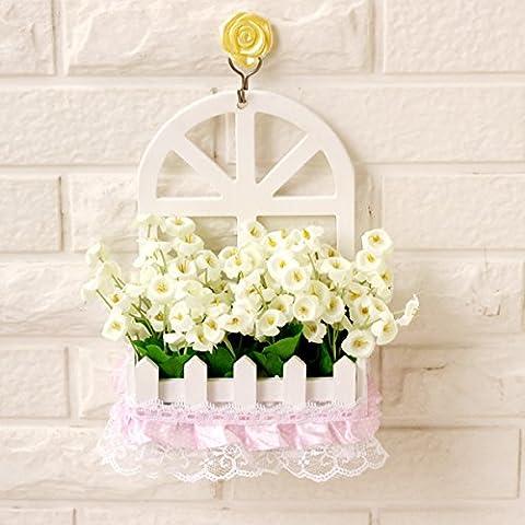 Fiore di emulazione montaggio a parete parete decorazione cesti floreali kit floreali false piante fiorite in stile Europeo di soggiorno ornamenti di legno ,15*7,5*22cm,8