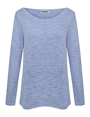 Yidarton Damen Langarm T-Shirt Rundhals Ausschnitt Lose Bluse Hemd Pullover Oversize Sweatshirt Oberteil Tops Grau