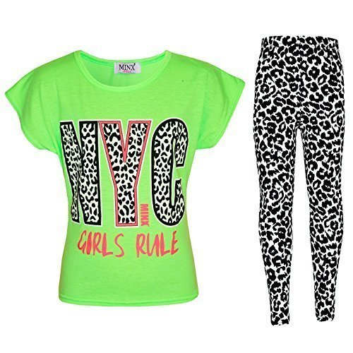 Mädchen NYC GIRLS RULE Aufdruck - NYC Girls Rule Set Neon Green 11-12 (Kostüme In Nyc)
