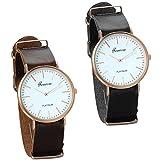 JewelryWe 2pcs Damen Armbanduhr, Classic St.Mawes Lady Analog Quarz Leder Band Uhr elegant modisch Zeitloses Design Schwarz Braun