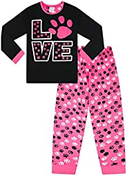 """Pigiama da bambina con scritta """"Love"""" e zampe di animali stampate, rosa e nero"""