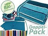 Bio-Handtuchserie im Doppelpack - erhältlich in 22 modischen und trendigen Unifarben in 7 verschiedenen Größen, sowie 7 Streifen-Variationen, Handtuch 50 x 100 cm, petrol-gestreift