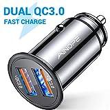 AINOPE Zigarettenanzünder USB Ladegerät, [Dual QC3.0 Port] 36W/6A Auto Ladegerät Mini Metal Legierung KFZ...