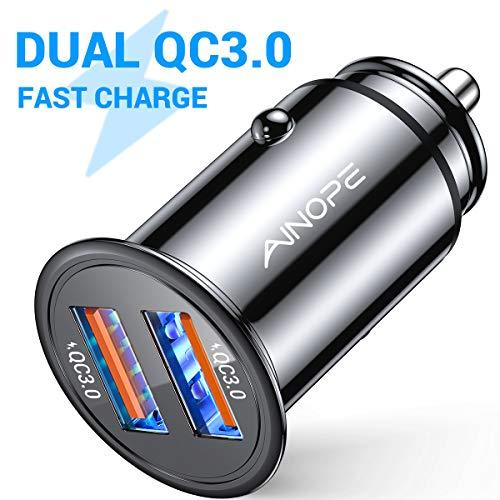 AINOPE Zigarettenanzünder USB Ladegerät, [Dual QC3.0 Port] 36W/6A Auto Ladegerät Mini Metal Legierung KFZ Ladegerät Schnellladung Kompatibel mit iPhone 11, Note 9/Galaxy S10/S9/S8, iPad-1 Pack