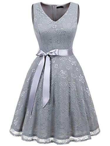IVNIS RS90025 Damen Ärmellos Vintage Spitzen Abendkleider Cocktail Party Floral Kleid Grey2 L
