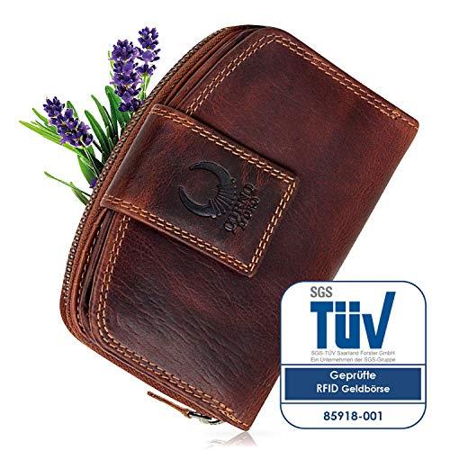 a6cc844d7b823 Geldbörse Damen Leder I TÜV-zertifizierter RFID Schutz I Portemonnaie  Portmonee vintage Geldbeutel Kreditkartenetui lang mit Reißverschluss in  Geschenk-box ...