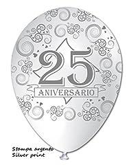 Idea Regalo - 100 Palloncini con stampa 25° Anniversario - Bianco / Argento - Lattice - Diametro 30 cm