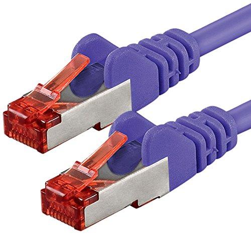 1aTTack cavo di rete Patch Cat6PiMF SSTP, con 2connettori RJ45doppia schermatura, confezione da 5 purple (Occidentale Del Metallo Di Arte)