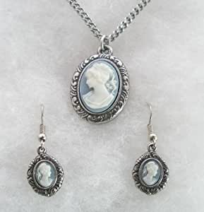 Lovely Cameo Necklace & Earrings Set, Fine Engish Pewter, Gift Boxed