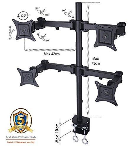 AM12Q Quadruple LCD/Led Monitor Desk Mount Bracket for 15