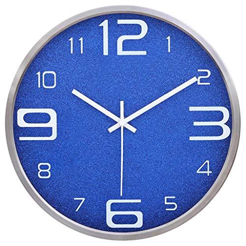 Everyday home Horloge murale moderne, ronde silencieuse à quartz silencieuse à piles Facile à lire horloge de cuisine pour la maison/bureau/école (Couleur : Bleu, taille : 12 pouces)