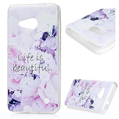 Nokia Microsoft Lumia 550 (4,7 pouces) Smartphone Coque de Protection - YOKIRIN Phone Case de TPU Souple Ultra Illustration en Couleur - Fleur Violet