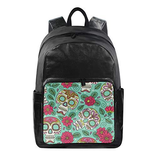 Lustiger Rucksack mit Blumenmuster und Totenkopf-Motiv, Schultertasche für Wandern, Camping, Schule, Reisen, Computertasche für Kinder, Jungen, Mädchen, Männer, Frauen